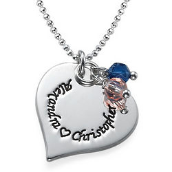 Engraved Silver Heart Necklace with Swarovski Birthstones