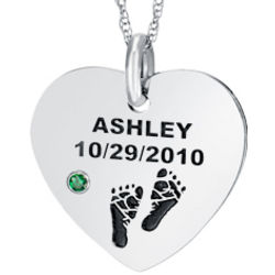 Personalized Sterling Silver Birthstone Heart Necklace