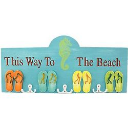 Flip Flop This Way to The Beach Wall Hook Sign