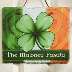 Good Luck Clover Personalized Slate Plaque