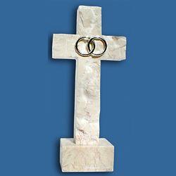 "Standing Silver Wedding Bands 8.5"" Jerusalem Stone Cross"
