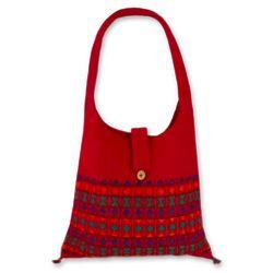 Crimson Tease Cotton Shoulder Bag