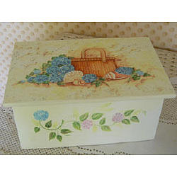 Painted Nantucket Basket with Flowers & Shells Box
