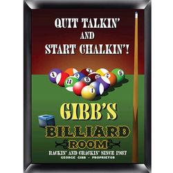 Personalized Billiard Room Pub Sign