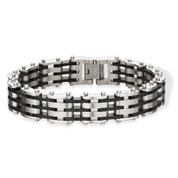 Black Rubber and Stainless Steel Mens Bracelet