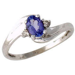 Tanzanite and Diamond Wave Ring