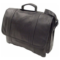 Three-Section Flap Leather Briefcase