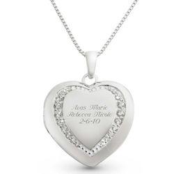 Sterling Silver Pavé Heart Locket with Keepsake Box