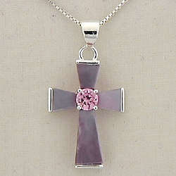 Pink Mother of Pearl Cross Necklace