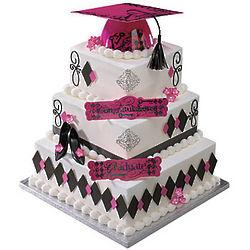 Pink Keys to Success Graduation Cake Decoration