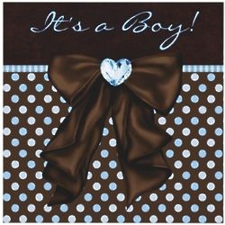 Personalized Blue and Brown Baby Boy Shower Invitations