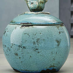 Bluebird Ceramic Jar