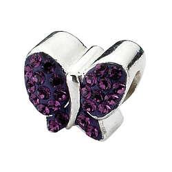 Sterling Silver Purple Swarovski Butterfly Charm