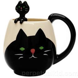 Black Cat Mug and Spoon Set