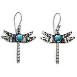Blue Dragonfly Sterling Silver Dangle Earrings