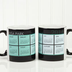 It's a Date Personalized Calendar Black Handled Coffee Mug