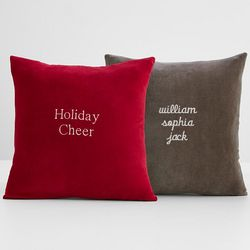 Personalized Script Velvet and Linen Throw Pillow