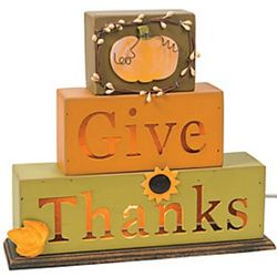Give Thanks Light Blocks Decor