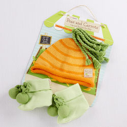 Baby's Peas and Carrots Cap and Booties