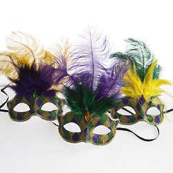 Mardi Gras Glitter Venetian Feather Mask