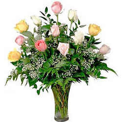 Mixed Pastel Rose Bouquet with Vase