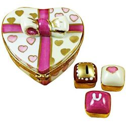 Pink Heart with 3 Chocolates Limoges Box