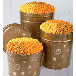 Gold Stars & Swirls Popcorn Tin