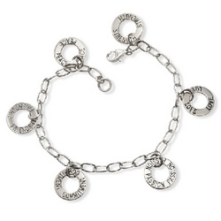 Sterling Silver Friendship Bracelet with Engraved Charms