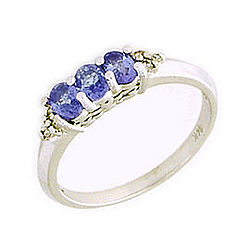 Tanzanite Gemstone White Gold and Diamond Crown Ring