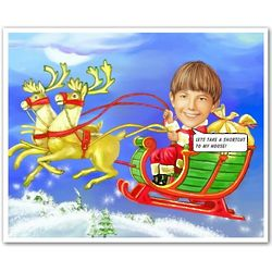 Santa's Sleigh Ride Caricature Print from Photo