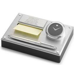 Movado Brushed Aluminum Clock Desk Set