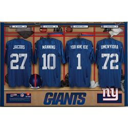 "Personalized 24""x36"" New York Giants NFL Locker Room Canvas"