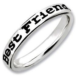 Friend's Black Sterling Silver Stackable Ring