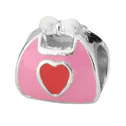 Sterling Silver Pink Enamel Purse Charm