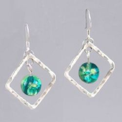 Hammered Silver Diamond Blue-Green Earrings