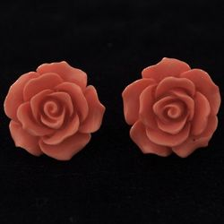 Retro Rose Cabochon Earrings