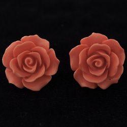 Retro Rose Cabochon Earrings