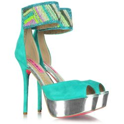 Embroidered Aqua Suede Platform Sandals
