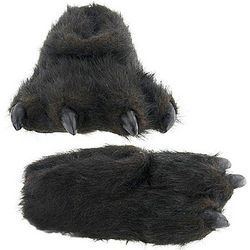 Furry Black Bear Slippers