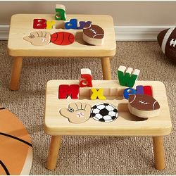 Personalized Sports Design Puzzle Step Stools