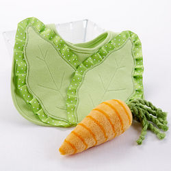 Baby's Bibb Lettuce Bib and Carrot Rattle Gift Set