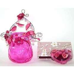 Hot Pink Votive Holder Gift Set