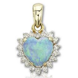 14K Yellow Gold Heart Shaped Opal and Diamond Pendant