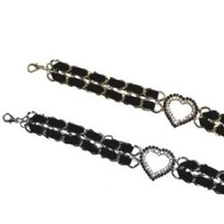 Heart Shaped Austrian Crystal Chain Belt with Black Ribbon