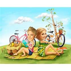 Lovely Picnic Girlfriends Caricature from Photos Print