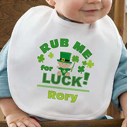 Personalized Rub Me for Luck St. Patrick's Day Baby Bib