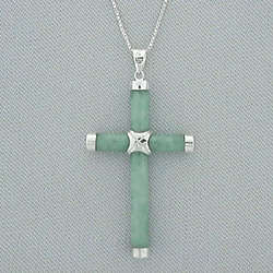 Sterling Silver and Jade Cross Pendant
