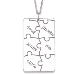 Sterling Silver Family Name Puzzle Necklace