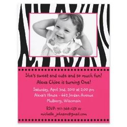 Funky Zebra Print Photo Birthday Invitations