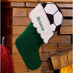 Embroidered Soccer Ball Design Christmas Stocking